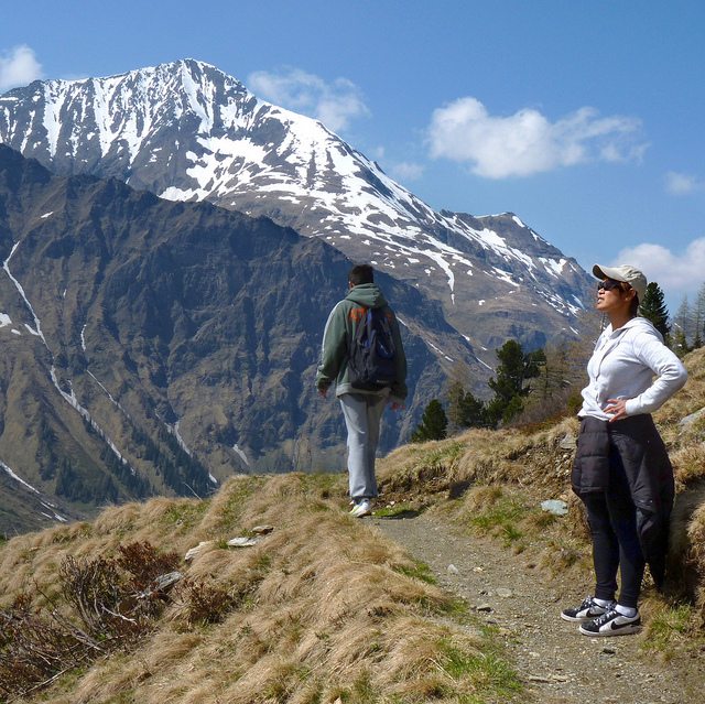 Camp and Hike Kanitha enjoys the vista - Hohe Tauern National Park in Austria