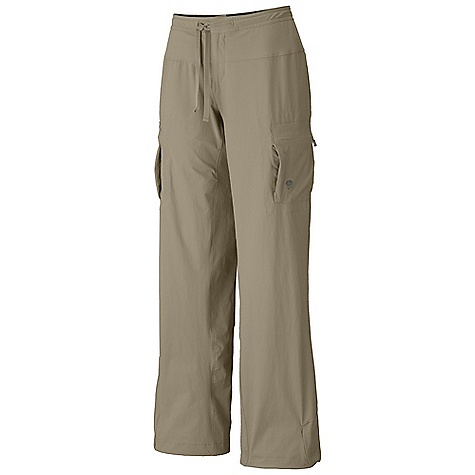 Free Shipping. Mountain Hardwear Women's Yuma Pant DECENT FEATURES of the Mountain Hardwear Women's Yuma Pant Micro-Chamois-lined seamless conical waist for comfort under a pack Soft drawcord at waist for easy fit adjustments Secured zip, side leg cargo pockets for storage Full length inseam gusset for mobility Adjustable drawcord hidden inside hem to cinch pant leg Durable, 4-way stretch fabric for movement DWR finish sheds moisture UPF 50 sun protection - $69.95