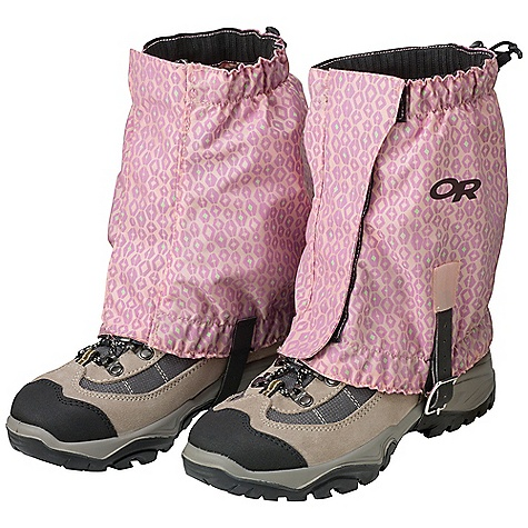 Outdoor Research Kids' Trailhead Gaiter DECENT FEATURES of the Outdoor Research Kids' Trailhead Gaiter Water Resistant Breathable 1/2in.-Wide Hook/Loop Front Closure with Zipper Elastic Top and Bottom Edges Single-Riveted Boot Lace Hook Hypalon Instep Strap Graphic Treatment The SPECS Weight: 5.4 oz / 154 g Pack cloth: 100% nylon, 420D This product can only be shipped within the United States. Please don't hate us. - $28.95