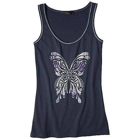 Surf Free Shipping. Prana Women's Onyx Tank DECENT FEATURES of the Prana Women's Onyx Tank Cotton rib jersey Beautiful butterfly burnout applique at front The SPECS 100 Cotton - $49.95
