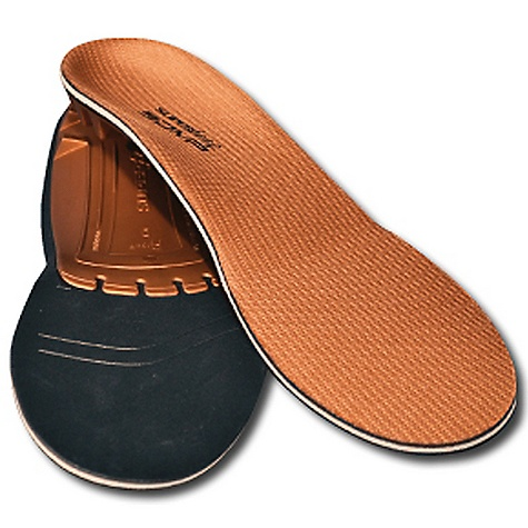 Free Shipping. Superfeet Men's Copper Insoles - Low to Medium Arch FEATURES of the Superfeet Men's Copper Insoles - Low to Medium Arch Structured heel cup maximizes natural shock absorption thanks to the way it encapsulates and positions the soft tissue under the heel The rearfoot support towards the back of your arch and the front of your heel is the Superfeet shape stabilizing the rearfoot, providing all day comfort even after the most active of days Bottom stabilizer cap acts of the base of the insole that supports the rear foot and provides structure and stability to the foam layer Naturally molds to your unique foot shape through daily wear, thanks to the pressure-sensitive memory foam The insole has a super accommodating heel cup that positions the heel to absorb impact naturally and comfortably The Copper insoles offer the most flexible and accommodating shape and support to keep your feet happy The biomechanical shape remains intact for support and stabilization while reducing stress on ankles, feet, and knees. So amazing. Designed primarily for footwear with a removable insole in order to get the full comfort and proper support To make these even better, they feature an all natural antimicrobial coating that helps prevent the growth of odor-causing bacteria Covered by Superfeet's 60 Day Comfort Guarantee Superfeet ADD/APT System Origins trace all the way back to Superfeet's start as the Sports Medicine Division of the the Northwest Podiatric Laboratory in 1974. Bunch of smarty pants. Encompasses the biomechanical science, technology, function and craftsmanship that adjust footwear's existing flat, 2-dimensional midsole to support your 3-dimensional feet - $54.95