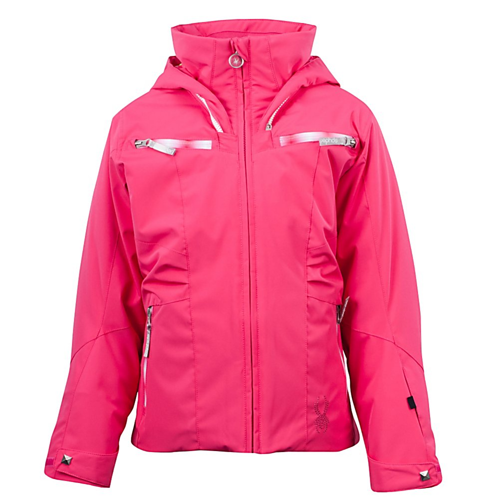 Ski Spyder Knockout Girls Ski Jacket (Previous Season) - One of Spyder's best-sellers in the Vision series for girls, the Knockout Ski Jacket is packed full of style and features to keep your daughter looking good and feeling good whether on the slopes or heading off to school. It offers new construction which makes mobility easier and is very breathable. The waterproof rating is at 10k which, along with Spylon+ DWR, prevents moisture from seeping in. Equipped with ThermaWeb Insulation, your little girl will stay very warm and cozy as the insulation traps the body heat inside the jacket. There are plenty of pockets throughout for storing things like lip balm or an additional hat. With eye-popping colors and fun new designs, the Spyder Knockout Ski Jacket is perfect for any young skier who wants to show her personality and skills on the mountain. Features: Drawcord adjustable hem that finishes in hand pockets. Exterior Material: Stretch Polyester Plain Weave Xt.L and Spylon+ DWR, Insulation Weight: ThermaWeb (140g), Taped Seams: Critically Taped, Waterproof Rating: 10,000mm, Breathability Rating: 10,000g, Hood Type: Removable, Pit Zip Venting: No, Pockets: 4-5, Powder Skirt: Yes, Hood: Yes, Warranty: Lifetime, Use: Ski, Battery Heated: No, Race: No, Type: Insulated, Jacket Fit: Regular, Length: Medium, Insulation Type: Synthetic, Waterproof: Mild Waterproofing (5,001 - 10,000mm), Breathability: Mild Breathability (5,001 - 10,000g), Cuff Type: Velcro, Wrist Gaiter: Yes, Waterproof Zippers: Yes, Cinch Cord Bottom: Yes, Model Year: 201 - $74.96
