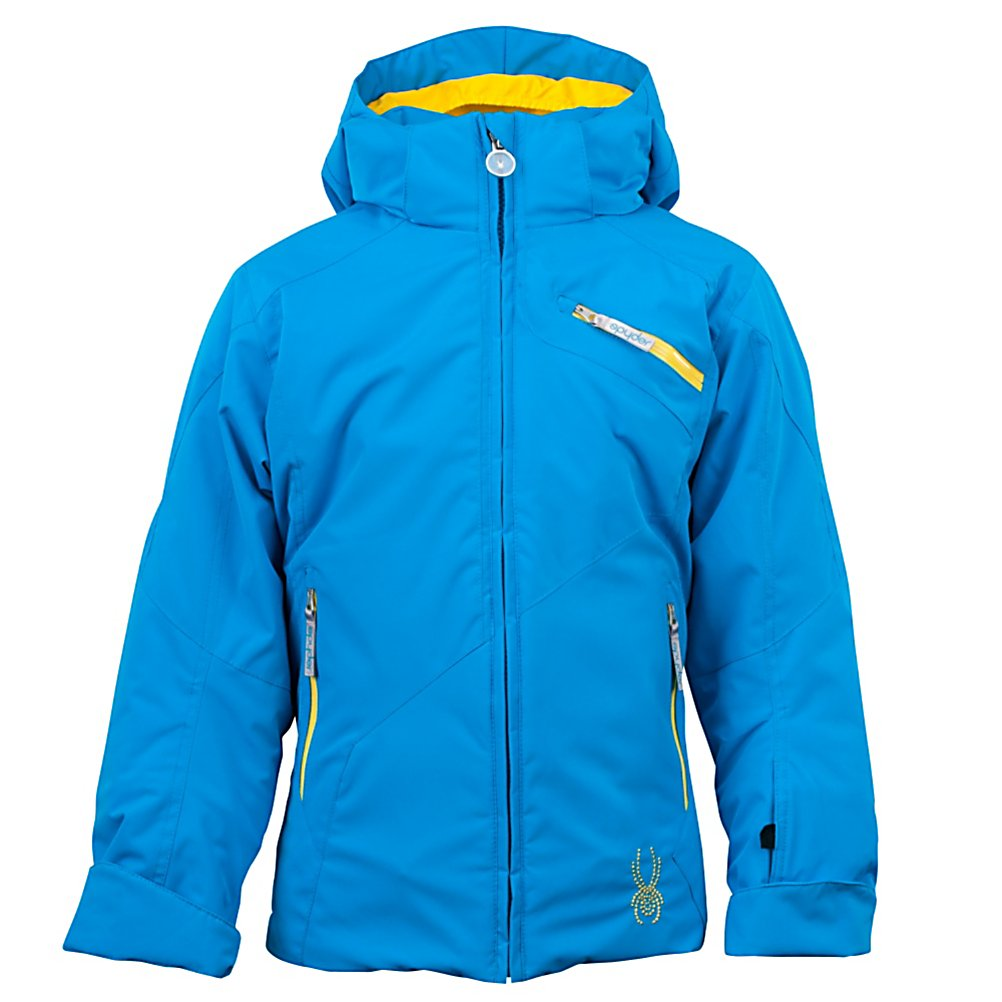Ski Spyder Mynx Girls Ski Jacket - Stylish but most of all warm and comfortable, the Mynx Ski Jacket is packed full of features to keep your daughter looking good and feeling good whether she's just starting on the bunny hill or chasing you down the blues. The waterproof rating is at 10k which, along with Spylon+ DWR, prevents moisture from seeping in. Equipped with ThermaWeb Insulation, your little girl will stay very warm and cozy as the insulation traps the body heat inside the jacket and the Nylon Taffeta Lining is comfortable as well. There are plenty of pockets throughout for storing things like lip balm or an additional hat and Velcro Adjustable Cuffs make keeping the snow out easy and fit comfortable An excellent beginner jacket, the Spyder Mynx Ski Jacket is perfect for any young skier who wants to have a fun time on the slopes without sacrificing style. Features: Data card pocket, Removable hood. Exterior Material: Stretch Polyester Plain Weave Xt.L and Spylon+ DWR, Insulation Weight: ThermaWeb (140g), Taped Seams: Critically Taped, Waterproof Rating: 10,000mm, Breathability Rating: 10,000g, Hood Type: Removable, Pit Zip Venting: Yes, Pockets: 4-5, Powder Skirt: Yes, Hood: Yes, Warranty: Lifetime, Use: Ski, Battery Heated: No, Race: No, Type: Insulated, Jacket Fit: Regular, Length: Medium, Insulation Type: Synthetic, Waterproof: Mild Waterproofing (5,001 - 10,000mm), Breathability: Mild Breathability (5,001 - 10,000g), Cuff Type: Velcro, Wrist Gaiter: Yes, Waterproof Zippers: Yes, Cinch Cord Bottom: - $139.99