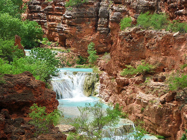 Camp and Hike Upper Beaver Falls on Havasu Creek from trail - Grand Canyon
