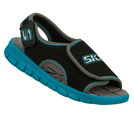 Surf Hot sunny days are the perfect time for the SKECHERS Synergize sandal.  Soft flexible neoprene fabric upper in a sporty casual amphibious sandal with stitching accents and adjustable closures. - $30.00