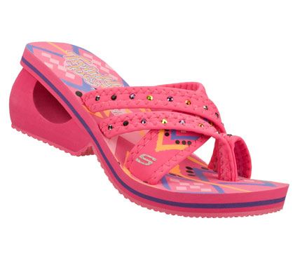 Surf Fun fashion and bright colors come in warm weather looks with the SKECHERS Twinkle Toes: Spinners - Sassy Safari sandal.  Soft stretchable fabric upper in a strappy wedge heeled toe ring thong sandal with metal sequin and bright color print accents. - $28.00