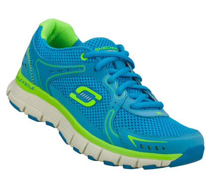 Super sporty style and comfort come in the SKECHERS Flex Fit - Fly shoe.  Smooth leather and mesh fabric upper in a lace up sporty athletic training sneaker with stitching and overlay accents. - $50.00