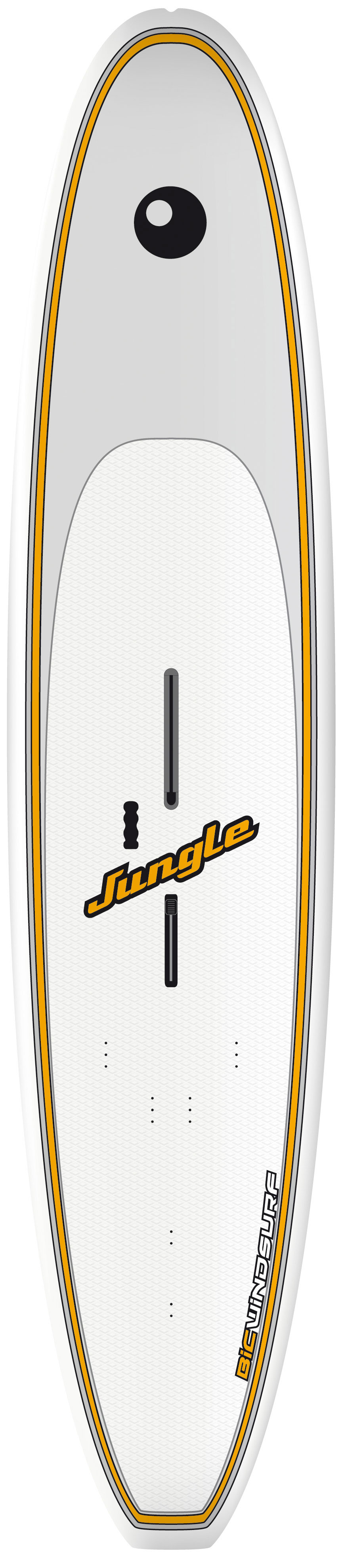 "Wake This Bic Jungle Wind SUP Board is both extremely durable and very versatile. This board was built tough as nails. It can take short and tall waves alike. You will surely not have to replace it any time soon. Bic is one of the most reliable and trustworthy brands in the industry. You can rest assured that this is a very high quality windsurfing board. You will not be disappointed. Best of all, the price tag is affordable!Key Features of the Bic Big Jungle Wind Sup Board 10' 10"": Length: 10' 10"" (330cm) Width: 72cm Thickness: 13cmVolume: 175 Liters Weight: 27.5 lbs/12.5 kg Fin: G10 26.5 Fixbox: US System Dagger Saber - $1,199.95"