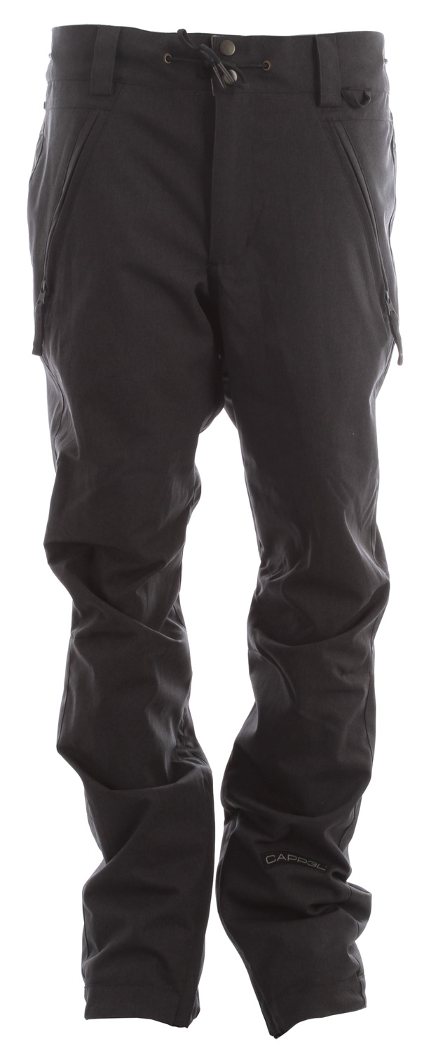 Snowboard The Cappel Bankrobber men's snowboard pant has a 10k/5k waterproof breathable rating, all Cappel Rideractive features, Critically Taped Seams and a Tailored Slim Fit Cappel snowboard Pant so you can bring your punk style to the slopes without having to buy women's snowboard pants.Key Features of the Cappel Bankrobber Snowboard Pants: 10,000mm Waterproof 5,000g Breathability Shell snowboard pant with Mesh and Tricot Lining Waxed Draw-Cord Waist Adjustment Articulation at the Knees Micro Fleece Lined Inner Waist, Butt and Fly Shred-Free Slightly Higher Pant Leg Back Adjustable Gaiters Exposed Metal Zippered Back Pockets, Mesh-Lined to Double as Vents Inner Zip Adjustment to Fit Like Your Favorite Pair of Skinny Jeans Two-Way Stretch Fabric Tailored Slim Fit snowboard pant - $116.95