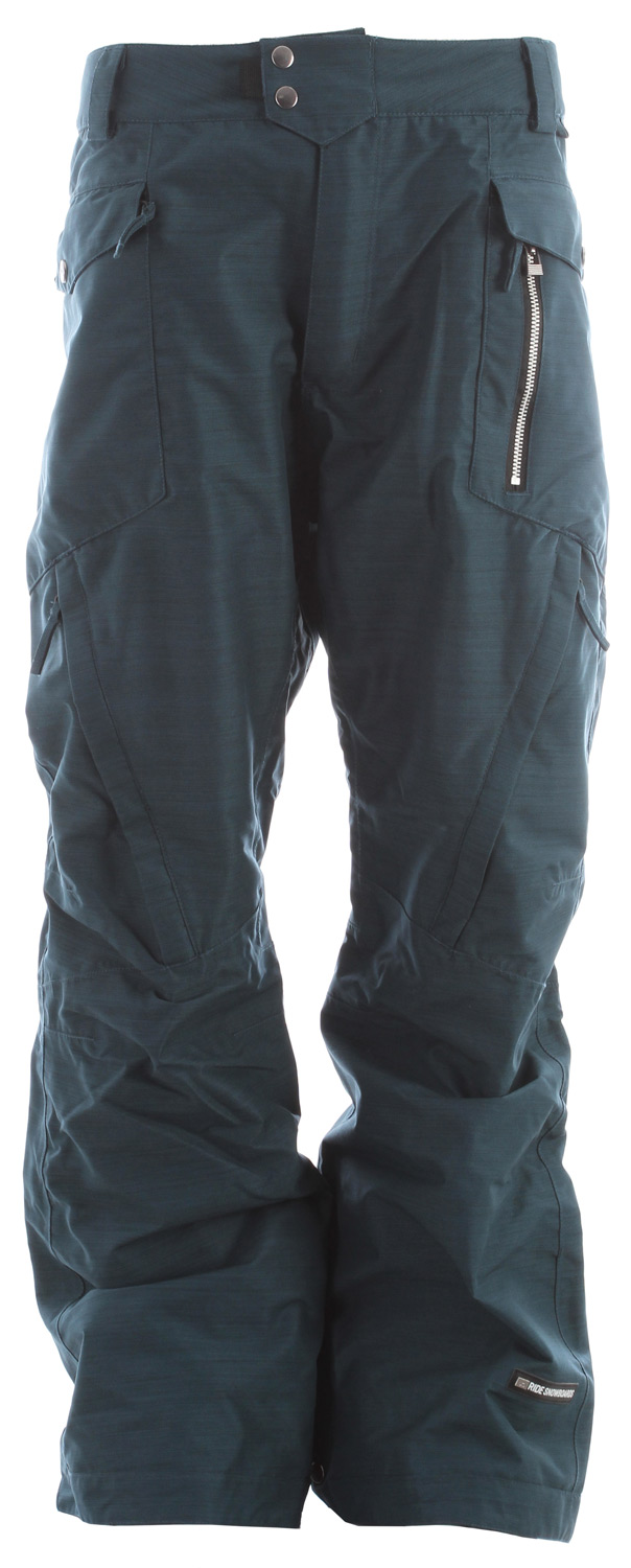Snowboard The Westlake snowboard pant comes with a solid 15k/10k waterproof breathable rating, Fully Taped Seams and all of the 15k Rideractive Features giving you a waterproof slim fit snowboard pant that will properly bring your street style to the mountain.Key Features of the Ride Westlake Snowboard Pants: 15,000mm Waterproof 10,000g Breathability Shell snowboard pant with Mesh Lining Exposed Front Metal Zippered Pocket BOA Window Cut Out on Gaiter for Easy Boot Adjustment Inner Waist Adjustments with Double-Snap Waist Closure Articulation at the Knees Slider Liner Mesh-Lined Vents Velvety Tricot Inner Waist, Butt and Fly Shred-Free Slightly Higher Pant Leg Back Adjustable Boot Gaiters Inner Leg Snap Pleat Lift Ticket Self-Fabric Loop Front Micro-Fleece Lined Toaster Pockets Slim Fit snowboard pant - $75.88