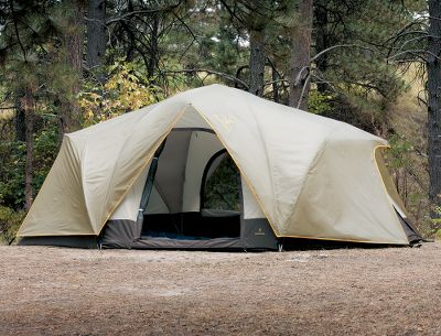 Camp and Hike Preserve your privacy. This three-room tent has one front door and two end doors for individual room entry. Roomy enough for seven, it also has a lofty center height of 62. The four-pole design, with flexible fiberglass poles and snap-over pole clips, keeps assembly simple. The weatherproof fly buckles tightly to the tent. All three entrances have awnings. The waterproof fly and 150-denier polyester floor, with a 1,500mm waterproof rating, protect against the elements. Mesh roof vents, mesh storage pocket and gear loft. Includes steel stakes and guy ropes. Imported.Sleeping capacity: 7.Center height: 62.Floor size: 10 x 16.Weight: 21 lbs. - $199.88