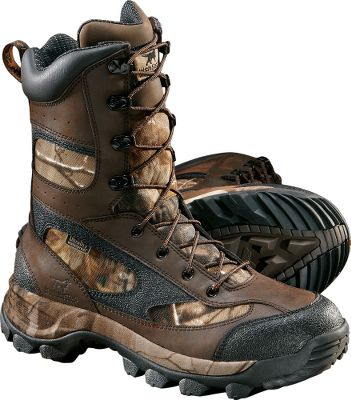"Hunting The same reliable comfort you expect from Irish Setter in a lightweight, streamlined hunting boot. UltraDry waterproof linings and treated leather/nylon uppers seal out moisture. 600-gram Thinsulate Ultra Insulation locks in warmth without excessive weight or bulk. The rugged, full-grain leather uppers are attached to Mountain Claw soles with aggressive cleats that dig into whatever is underfoot. Irish Setter ScentBan technology minimizes scent by killing bacteria that causes odors. Imported. Height: 9"". Average weight: 3.4 lbs/pair. Men's sizes: 8-14 D width; 9-12 EE width. Half sizes to 12.Camo pattern: Realtree AP . - $49.88"