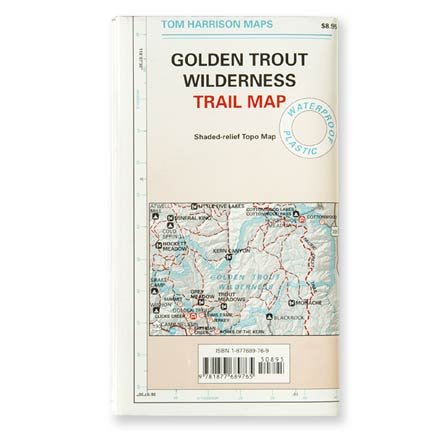 Printed on waterproof plastic for durability, this is a complete, recently updated topographic map to the trails of the Golden Trout Wilderness. - $10.95