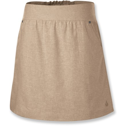 Made from a blend of soft, lightweight hemp and recycled polyester fabrics, the flattering Isis Miranda skirt has a linen-like feel, perfect for warm-weather fun. Hemp, the oldest known cultivated fiber, is 3 times stronger than cotton for longer wear; recycled polyester ensures next-to-skin comfort. Lycra(R) spandex helps garment stretch and move gracefully with you. The Isis Miranda skirt has a drawstring waistband, gathered fabric in back and hand pockets. Closeout. - $20.73