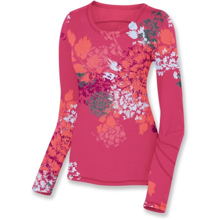 Entertainment Great for early morning walks with the dog or cool-weather hikes, the Isis Simplici-Tee long-sleeve shirt is made from a high-performance, moisture-wicking fabric that's also incredibly comfortable. Polyester blended with lyocell, a supple natural cellulose fiber, offers a soft, smooth drape. Fabric provides UPF 30 sun protection, shielding skin from harmful ultraviolet rays. Spandex adds stretch, shape retention and wrinkle resistance. Isis Simplici-Tee long-sleeve shirt features dri-release(R) technology for moisture-wicking and quick-drying properties that won't wash out. Freshguard(R) treatment embedded in the yarn virtually eliminates odor. Closeout. - $22.73