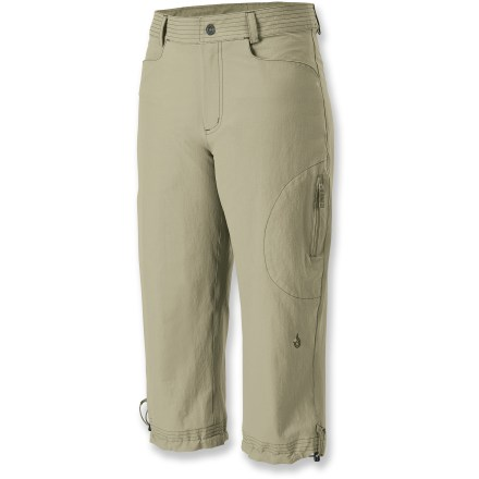 Camp and Hike The quick-drying Isis Marcy capris are ideal for summer hikes and travel with a soft, comfortable fit that's stylish enough for cafe wear. Lightweight, stretch woven fabric is abrasion-resistant and durable. Isis Marcy capri pants have a microsuede-lined mid-rise waistband; internal waist adjustment personalizes the fit. Hems can be cinched up via drawcords. Hand pockets,1 zip-close thigh pocket and 2 zip-close rear pockets. Regular cut is not too tight and not too loose; it's just right. Closeout. - $49.93
