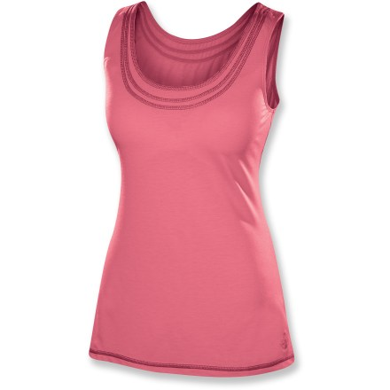 Camp and Hike Wear the Isis Simplici-Tee tank top for summer hiking or backyard lounging. Tank is made from a high-performance, moisture-wicking fabric that's also incredibly comfortable. Polyester blended with lyocell, a supple natural cellulose fiber, has a soft, smooth drape. Fabric provides UPF 30 protection from harmful solar rays. Spandex adds stretch, shape retention and wrinkle resistance. Isis Simplici-Tee tank top features dri-release(R) technology for moisture-wicking and quick-drying properties that won't wash out. Freshguard(R) treatment embedded in the yarn virtually eliminates odor. Closeout. - $11.73