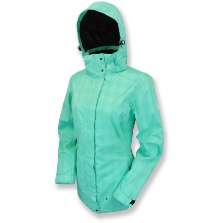 The lightweight Killtec Caylin Small Checker rain jacket fends off rain and wind so you can enjoy your outdoor adventures without seeking shelter from the storm. 2-layer waterproof, breathable laminate blocks rain and wind but allows body heat to escape. Polyester mesh lining enhances breathability and aids moisture transfer, keeping you comfortable even when you start to sweat. Front zipper with snap closure features a draft flap and zipper guard to prevent chafing and irritation. Zippered hand pockets and interior drop pockets stow all your essentials. Tricot-lined collar adds a touch of softness; adjustable, removable hood offers complete coverage. Killtec Caylin Small Checker rain jacket features a hem drawcord and adjustable rip-and-stick cuffs to seal in warmth. - $68.83