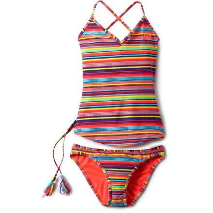Surf The Roxy Sea Side Crossover tankini offers full coverage with the mobility of a two-piece while bright, colorful stripes let her sense of style shine. Nylon with spandex dries quickly and feels comfortable against the skin. Crossover straps tie in the back for a secure, personalized fit. Roxy Sea Side Crossover tankini includes both top and bottom. - $31.93