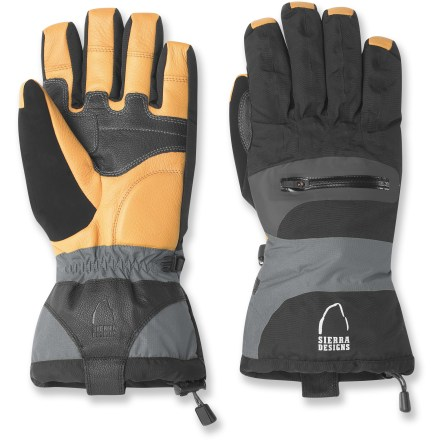 Snowboard Ready to tackle tough mountainous adventures and extreme cold, the Sierra Designs Enforcer gloves offer durable exteriors and cozy insulation to keep your hands warm and dry in snowy climates. Waterproof, breathable inserts stitched into the gloves' interiors keep your hands dry and comfortable even while spending all day in the snow. Warm, lightweight Thinsulate(TM) synthetic insulation keeps your fingers warm even in extreme cold. Reinforced leather palms and thumbs offer a reliable, flexible grip even when wet. 5mm heel padding helps absorb shock and protect hands from rough, abrasive surfaces. Soft, absorbent fabric between thumbs and fingers offer a non-abrasive place to wipe your nose or brow. Adjustable gauntlet drawcords help seal in warmth and keep rain and snow out. Backs of gloves feature zippered pockets for handwarmers. Closeout. - $40.73