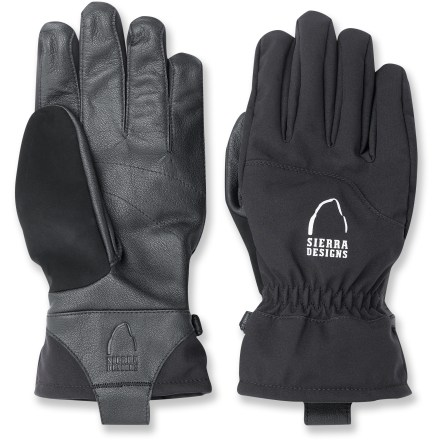 Snowboard Get ready for backcountry fun or a day on the slopes with the Sierra Designs Bookie gloves. Comfortable, durable materials and waterproof inserts keep your hands warm, dry and ready for another run. Leather palms offers flexible, reliable grip; backs of gloves feature weather-resistant, breathable nylon softshell material. Waterproof, breathable inserts built into the gloves' interiors keep your hands dry and comfortable even while spending all day in the snow. Outseam stitching construction ensures complete dexterity for superior control of poles and ice axes while on the mountain. Interior brushed tricot linings add warmth and feel soft against skin. Soft, absorbent fabric between thumbs and fingers offer a non-abrasive place to wipe your nose or brow. Closeout. - $25.73