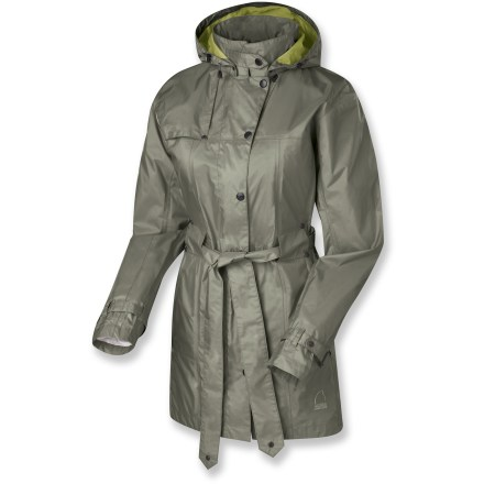 Classic style meets contemporary fabric in the waterproof, breathable Sierra Designs Clandestine trench coat. Despite the secretive name, its understated, elegant style is sure to attract attention. Nylon fabric with waterproof, breathable coating blocks wind and rain so you stay dry even in wet weather. Fully taped seams keep rain from leaking in. Polyester taffeta lining is soft and slides easily over other fabrics. Exterior hand pockets; interior zip pocket; stowable, adjustable hood; adjustable rip-and-stick cuffs. Sierra Designs Clandestine trench coat belts at the waist, allowing a close, fitted look. Closeout. - $54.73