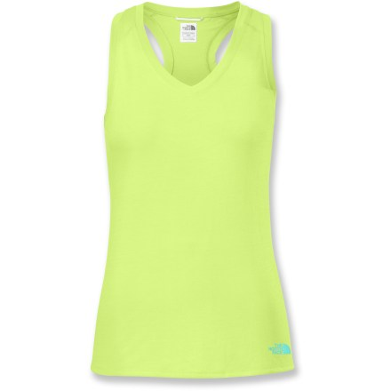 Fitness The North Face Reaxion tank top offers cool comfort for any workout. Very soft VaporWick(R) fabric moves sweat away from your skin so it can evaporate quickly, increasing your comfort. Fabric helps protect skin from harmful UV light with a UPF factor of 50+. The North Face Reaxion tank top offers a relaxed fit and a locker loop. - $13.93