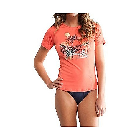 Carve Designs Women's Surfside Rash Guard DECENT FEATURES of the Carve Designs Women's Surfside Rash Guard 24.5in. long Short sleeves Semi-fitted Princess seams The SPECS 5.9 oz 4-way stretch tricot 82% Nylon, 18% Spandex 50+ UPF Rating - $47.95