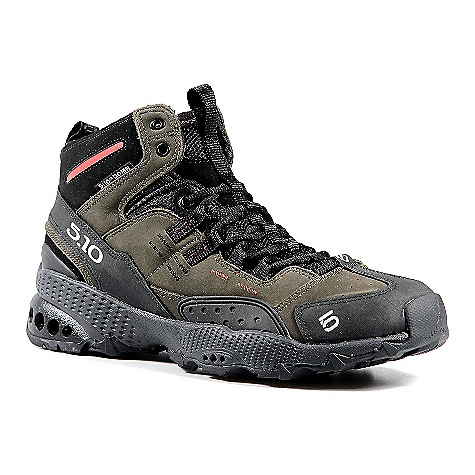 Camp and Hike Free Shipping. Five Ten Men's 5-10 Dome Mid Boot DECENT FEATURES of the Five Ten Men's 5/10 Mid Boot Designed for multiple days on the trail Can handle anything from running to fast packing to hiking with a heavy pack The comfy, lightly cushioned mid-height cuff helps to support heavy loads while protecting sensitive ankle bones A water-resistant Nubuck leather upper Stealth toe rand provide lasting performance for trail and technical routes Testers have logged 100s of miles-flat to vertical in the 5/10 Dome The SPECS Weight: (size 9) 14.7 oz/ 416.73 g ea. Upper Material: Nubuck Closure: Laces - $149.95