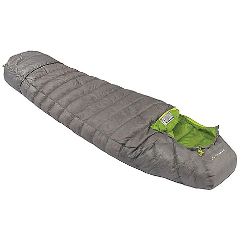 Camp and Hike Free Shipping. Vaude Ice Peak 150 Sleeping Bag DECENT FEATURES of the Vaude Ice Peak 150 Sleeping Bag 90/10 European Grey Duck Down 650 cubic inches Down is filled in Germany Lightweight fabrics with water repellent treatment Side zip reaches down 40 cm before foot end for enhanced insulation at the feet Double slide, dividable zip fastener for connecting With large inner pocket made from soft mesh fabric Warmth collar Contoured hood Footbox Integrated foot section with drawcord, can be used as storage sack Length adjustable with drawcord, resulting in.foot sackin. can be used as a storage bag or provide additional insulation at the feet Extremely durable compression sack included The SPECS Weight: 0.59 kg Shell: 100% Polyamide Lining: 100% Polyamide 15D 400T Ripstop Filling Material: 90/10 Grey Duck Down 650 cubic inches - $379.95