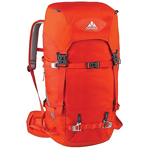 Climbing Free Shipping. Vaude Challenger 35+10L Pack DECENT FEATURES of the Vaude Challenger 35+10L Pack Information panel for alpine emergency situations under the lid Variable lid height Removable lid Zip pocket in the lid Additional zip lid pocket inside Rope holder under the lid Access to the main compartment also via zip Map compartment Attachment point for ice tools Crampon attachment on the front Side compression straps Side ski attachment Removable hip belt Suspension system with F.L.A.S.H. NT adjustment Sternum strap with whistle Opening for hydration system The SPECS Weight: 1.529 kg 100% Polyamide 210 D Cordura Polyurethane coated Contrast: 100% Polyamide 400 D Plain Polyurethane coated Lining: 100% Polyamide 200 D Acrylic coated - $179.95