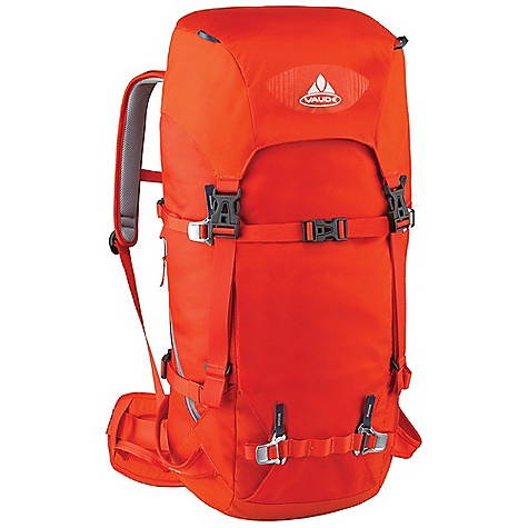 Climbing Free Shipping. Vaude Challenger 45+10L Pack DECENT FEATURES of the Vaude Challenger 45+10L Pack Removable lid Variable lid height Information panel for alpine emergency situations under the lid Zip pocket in the lid Additional zip lid pocket inside Rope holder under the lid Access to the main compartment also via zip Map compartment Crampon attachment on the front Attachment point for ice tools Side compression straps Side ski attachment Removable hip belt Suspension system with F.L.A.S.H. NT adjustment Sternum strap with whistle Opening for hydration system The SPECS Weight: 1.632 kg 100% Polyamide 100% Polyurethane 210 D Cordura Polyurethane coated Contrast: 100% Polyamide 400 D Plain Polyurethane coated Lining: 100% Polyamide 200 D Acrylic coated - $194.95