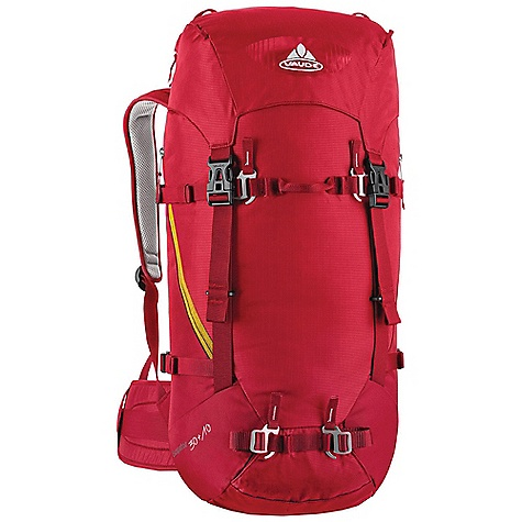 Climbing Free Shipping. Vaude Escapator 30+10L Pack DECENT FEATURES of the Vaude Escapator 30+10L Pack Removable lid Variable lid height Zip pocket in the lid Additional zip lid pocket inside Rope holder under the lid Information panel for alpine emergency situations under the lid Access to the main compartment also via zip Map compartment Attachment point for ice tools Side compression straps Removable hip belt Sternum strap with whistle Opening for hydration system The SPECS Weight: 1.313 kg 100% Polyamide 200 D Mini Ripstop Polyurethane coated Contrast: 100% Polyamide 400 D Plain Polyurethane coated Lining: 100% Polyamide 200 D Acrylic coated - $154.95