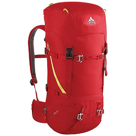 Climbing Free Shipping. Vaude Escapator 40+10L Pack DECENT FEATURES of the Vaude Escapator 40+10L Pack Removable lid Variable lid height Zip pocket in the lid Additional zip lid pocket inside Rope holder under the lid Information panel for alpine emergency situations under the lid Access to the main compartment also via zip Map compartment Attachment point for ice tools Floor compartment Side compression straps Removable hip belt Sternum strap with whistle Opening for hydration system The SPECS Weight: 1.474 kg 100% Polyamide 200 D Mini Ripstop Polyurethane coated Contrast: 100% Polyamide 400 D Plain Polyurethane coated Lining: 100% Polyamide 200 D Acrylic coated - $169.95