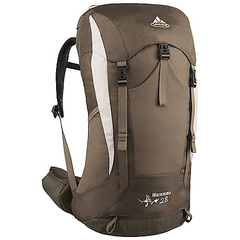 Camp and Hike Free Shipping. Vaude Women's Maremma 28 Pack DECENT FEATURES of the Vaude Women's Maremma 28 Pack Padded hipwings with zip pockets Zip pocket in the lid Additional zip lid pocket inside Side mesh pockets Front outer pocket Gear loops Softly padded, anatomical shoulder straps Sternum strap with whistle Opening for hydration system The SPECS Weight: 1.124 kg 100% Polyester 600 D Polyurethane coated Contrast: 100% Polyamide 210 D Stripe Polyurethane coated Lining: 100% Polyester 200 D Polyurethane coated Rain Cover: 100% Polyamide 190 T Polyurethane coated - $107.95