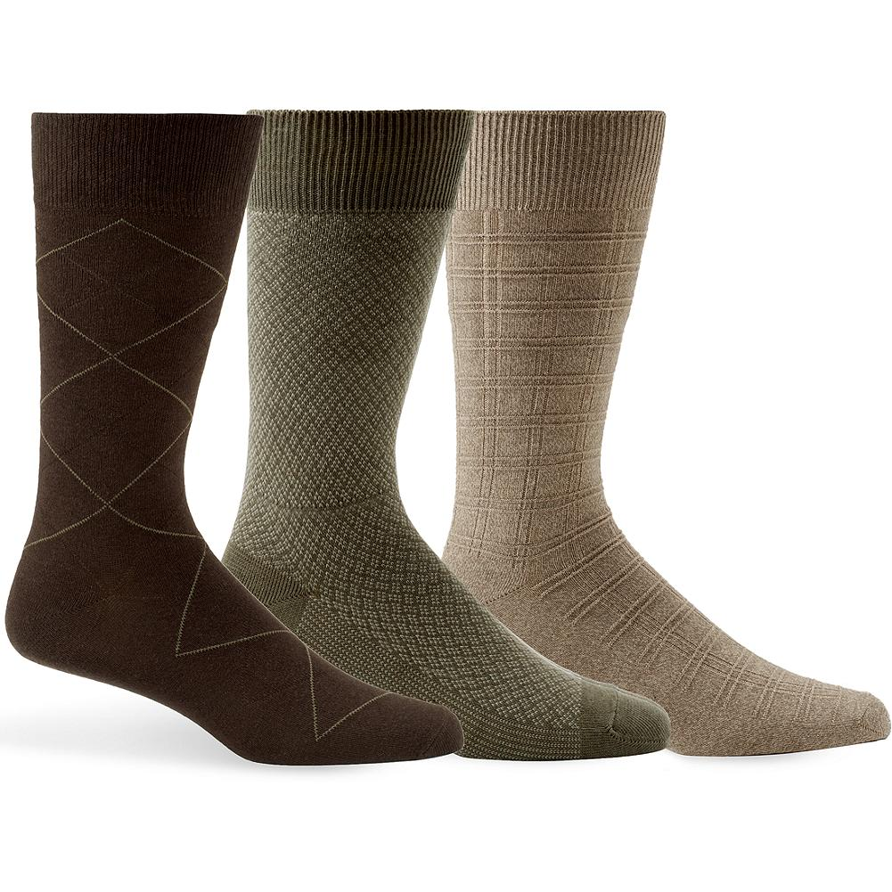 Entertainment Eddie Bauer Patterned Dress Socks 3-Pack - Our dress socks are made of a soft cotton blend and feature rich autumn colors and subtle geometric patterns. Fits US Men's shoe size 8-12. Imported. - $19.95