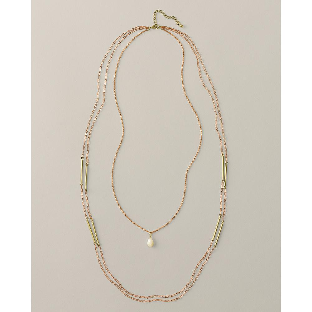 "Entertainment Eddie Bauer Bar Pendant Long Necklace - A dainty glass pendant hangs from the shortest of three chains, while brass bars adorn the other two. Lobster-clasp closure. Lengths: 25"" and 36"" with 2"" extender. - $19.99"