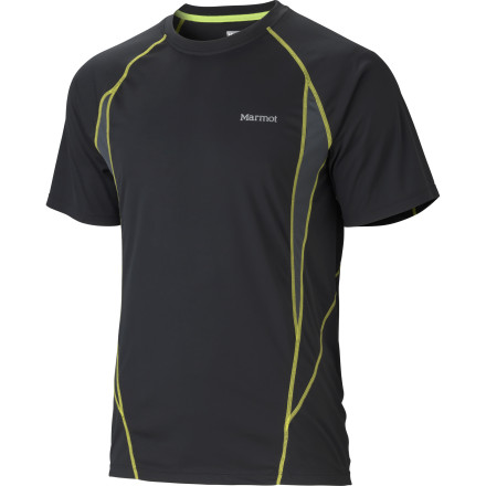 Entertainment Check your wrist computer and adjust your pace; even if you have to pick it up, you'll stay comfortable in your Marmot Men's Stride Short-Sleeve Shirt. This lightweight shirt is designed to keep you cooler on the trail thanks to ventilating mesh panels on the underarms and quick-wicking fabric. - $44.95