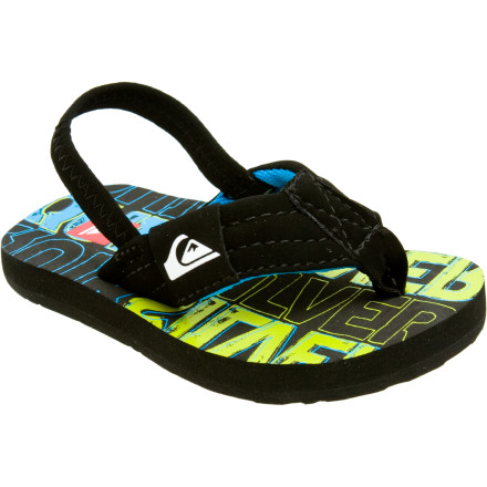 Surf Get your little munchkin into the Quiksilver Toddler Foundation Sandals and keep his or her pint-size kickers happy all summer. The back straps keep these shoes in place, plus a bit of arch support helps give those little feet some added structure. - $13.50