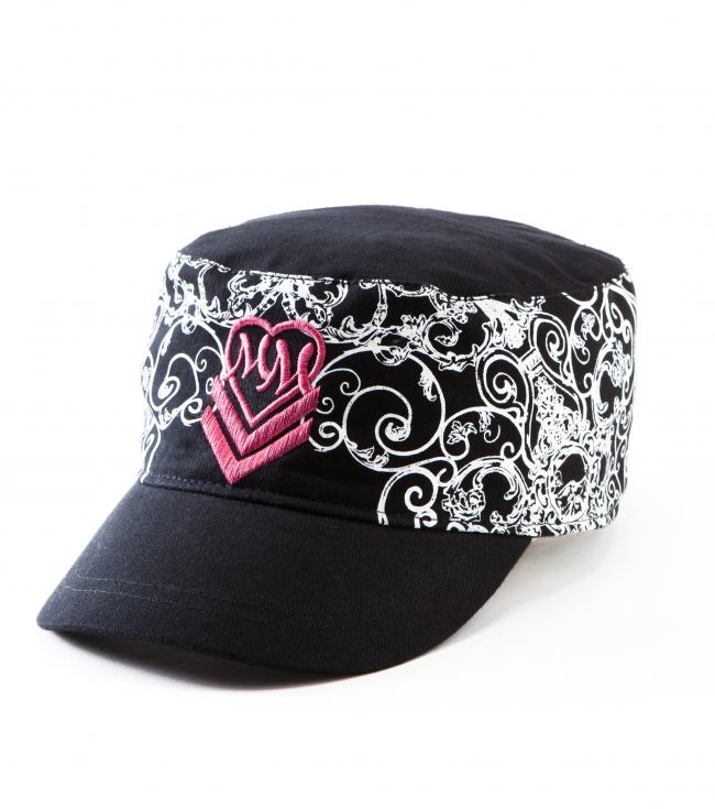 Motorsports Metal Mulisha Maidens hat.  Black twill military style; adjustable back; logo screenprint; pink satin lining; custom woven label. - $15.99