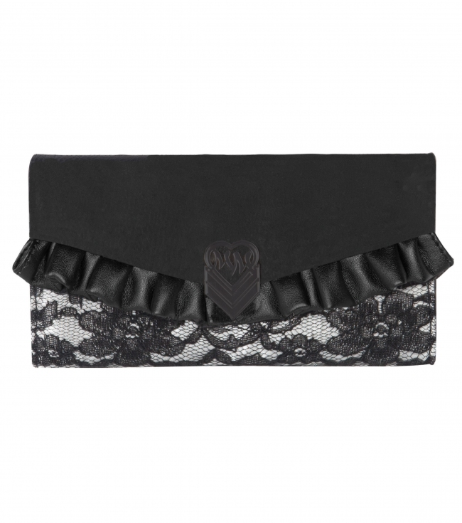 Motorsports Metal Mulisha maidens satin and lace wallet with black faux leather trim and ruffle detail.7.5'' W x 4'' H - $23.99