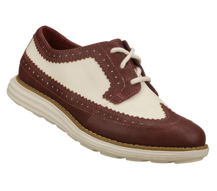 Entertainment Enjoy more spectator sports in the SKECHERS Groove Lite - Flapper shoe.  Smooth faux leather upper in a lace up two tone retro spectator dress casual oxford with stitching; overlay and perforation accents. - $65.00