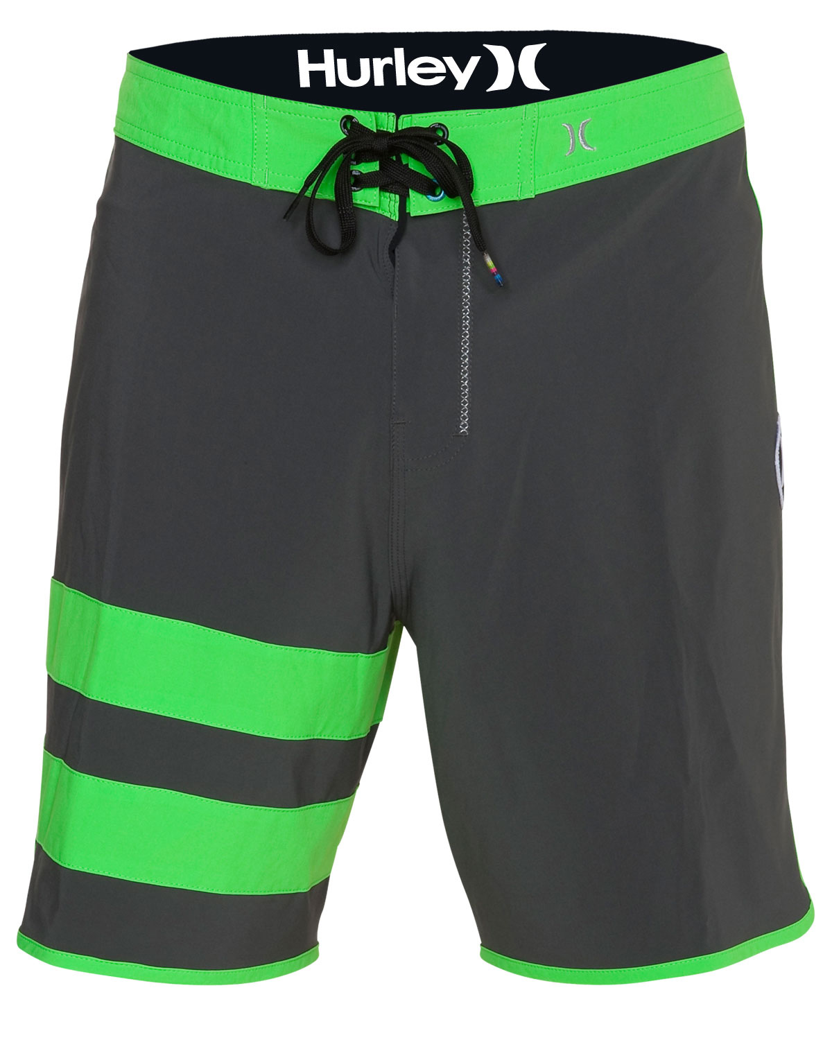 "Surf Key Features of the Hurley Phantom Block Party Solid Boardshorts: 19"" classic fit Recycled phantom 60% stretch Patented EZ fly closure Signature foil branding Metallic embroidery Performance water repellency No outseam Patch pocket with Velcro flap - $41.95"