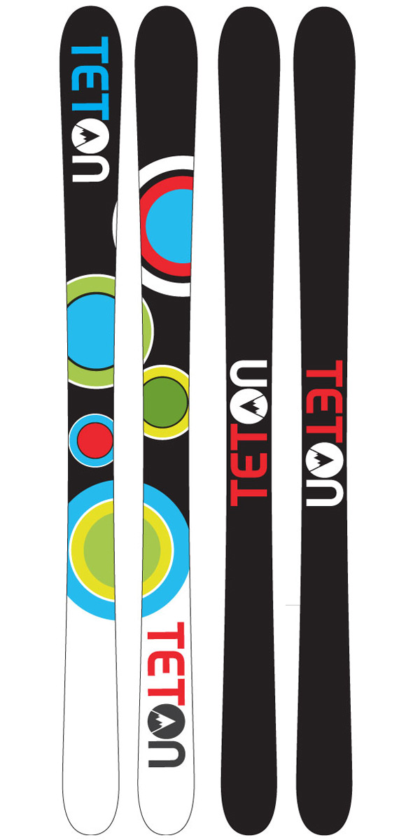 Ski The Teton Floaters Rockered Skis are built so you can hit the groomers, blow through some pow, then duck into the park for some booters and rails. These skis are built to ride everything the mountain has to offer. The Floaters which is Teton's widest ski and is built to float in the powder or take gold in any water skipping contest. The Camrock rocker/camber design offers all mountain performance at a fair price. Cambered under foot, for power and control with elevated tips and tail for a fun, forgiving ride.Key Features of the Teton Floater Rocker Skis: Slant Cap Construction All Mountain Park Ski Wood core German made steel edges full warped metal edges Directional Taper CamRock Hybrid Rocker Length (cm): 157, 165, 171, 177, 183 Effective Edge (cm): 133 (157), 141 (165), 147 (171), 153 (177), 159 (183) Tip/Tail Width (cm): 127/121 (157), 128/122 (165), 129/123 (171), 130/124 (177), 131/125 (183) Waist Width (cm): 94 (157), 95 (165), 96 (171), 97 (177), 98 (183) Sidecut (m): 18.5 (157), 19.5 (165), 20.1 (171), 21.5 (177), 23 (183) - $99.95