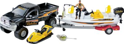 Fishing The Ram Fishing Boat Set includes an officially licensed Ram 3500 replica with opening doors, working tow winch, trailer hitch and opening tailgate. The decked-out, realistic bass boat is 13 long and hooks to the truck. Boat has a livewell, motor, trolling motor, boat trailer and a wave runner. Fully jointed 4 figure comes with a fishing rod with line, magnet lure, landing net and two bass fish. Ages 3+. Type: Play Sets. - $35.88