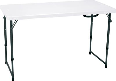 Camp and Hike Refreshments, tinkering in the garage, or outdoor food prep, this Lifetime fold-in-half adjustable-height 4-ft. table is built to do it all! Made of powder-coated steel and high-density plastic, its extremely tough with a maximum weight capacity of 850 lbs. Easy to clean and a cinch to set up. Dimensions: Three adjustable height settings: 24, 29 or 36. 48L x 24W. Color: White. Type: Tables. - $59.99