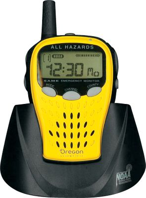 Be prepared for severe weather with Oregon Scientifics Emergency NOAA Portable Radio. The portable weather radio receives and displays National Weather Service messages, alerts, bulletins and forecasts, plus local EAS bulletins and warnings. Audio alarm and visual alerts let you know when alerts are issued. Uses three AA batteries (not included). - $19.88