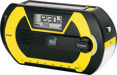 Knowing the weather no matter where you are can mean the difference between having a great time or meeting disaster. This compact hand-crank radio easily stows in your vehicle or pack. Always be tuned in to NOAA weather alerts with the emergency siren function. It provides digital AM/FM radio, solar panel and hand-crank charging, cell-phone charging USB port and an LED flashlight with beacon setting. An integrated alarm clock rounds out the features. Backup power source is three AAA batteries (not included). Dimensions: 7.5L x 2.1W x 3.9H. Gender: Male. Age Group: Adult. - $39.88