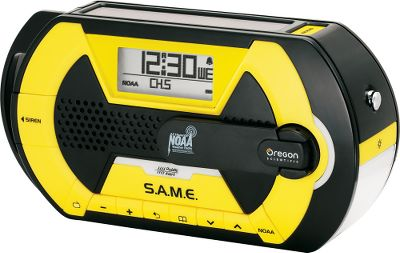 Keep Oregon Scientifics NOAA Same Tech Crank Radio in your car or emergency preparedness kit so you always know whats going on during emergencies. When disaster strikes, this radio can operate without batteries using stored power from the solar panel or power from the hand crank. The portable radio has weather band, NOAA weather alert and digital AM/FM radio modes. S.A.M.E. technology gets you alerts for your specific location. A USB port allows you to charge your phone or device. LED flashlight with beacon setting. Emergency siren. Digital alarm clock. Uses three AAA batteries (not included). Type: Weather Radios. - $69.88