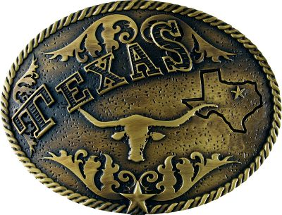 Entertainment Show your love of the great state of Texas with this oval-shaped brass buckle from Western Edge. Damask and rope embellishments surround a Texas longhorn and an outline of the state of Texas, completed by the states name across the top in billboard-style lettering. Made of zinc alloy with an antique brass finish.Dimensions: 4L x 3W. - $24.99